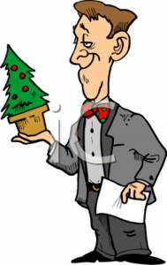 Businessman Holding a Christmas Tree