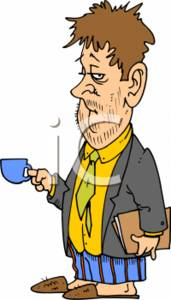 Scrubby Businessman with Coffee and Business Documents