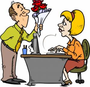 Businessman Giving Flower to His Secretary