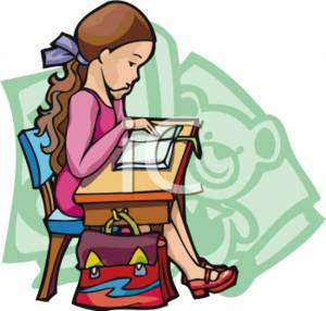 School Clipart of a Girl Reading at Her Desk