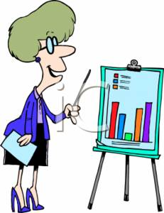 Businesswoman Going Over a Bar Graph at a Presentation