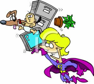 Superwoman Balancing a Office Computer, Child, and Pet - Multitask Concept