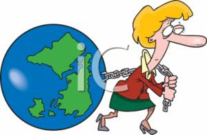 Businesswoman Pulling a Chain Attached to Earth - Workload Concept