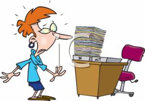 Shocked Secretary Noticing a Stack of Paperwork in an In Tray