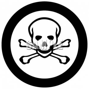 Clipart of a Circle Warning Symbol with Crossbones in the Center