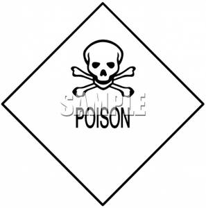 Poison Warning Sign with Crossbones
