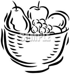 Outlined Fruit bowl with Fruit