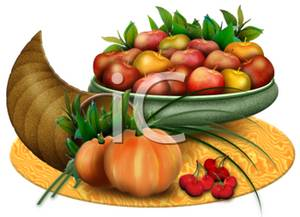 Thanksgiving Cornucopia with Apples, Pumpkins, and Cherries