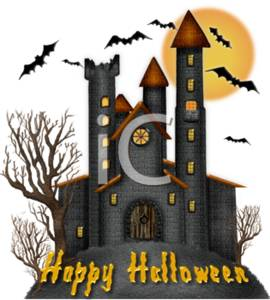 Clipart of a Scary Castle with Trees, Bats, and a Full Moon ...