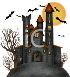 Scary Castle with Trees, Bats, and a Full Moon