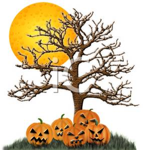 Clipart of a Full Moon, Spooky Tree, and Pumpkins with Scary ...