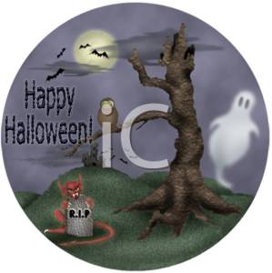 Happy Halloween - Ghost, Owl, Tree, Demon, Gravestone, Bats, and Full Moon