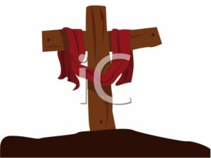 Clipart Of A Wooden Cross On Hill
