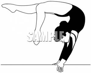 Competitive Female Gymnast Bending Over Backwards On a Balance Beam