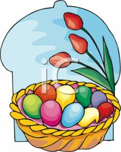 Colorful Easter Eggs in a Basket Beside Red Tulips