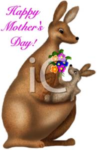 Happy Mother's Day! with a Joey and Mother Kangaroo