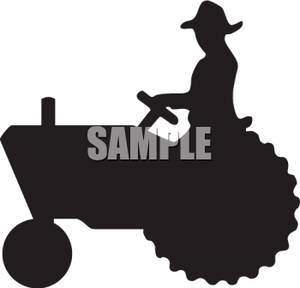 Silhouette Clipart of a Farmer Driving a Tractor