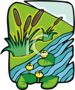 Clipart of a Pond with Lily Pads and Cattails