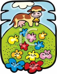 Happy Cow Standing in a Field with Flowers