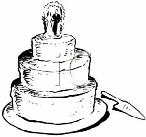 Vintage Clip Art of Wedding Cake