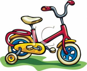 Clipart Picture of a Kids Bike with Training Wheels
