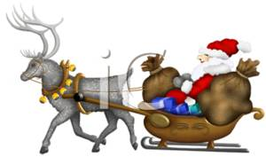 Clipart Picture of Santa Claus and His Sleigh