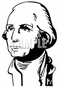 Black and White Line Drawing of President Washington