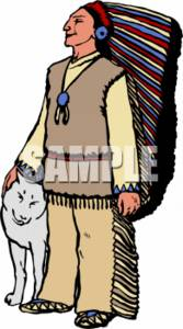 Clipart Picture of an Indian Chief With a Wolf