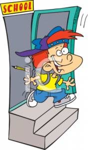 Clipart Picture of a Boy Running Out of School