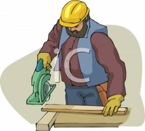 Clipart Picture of a Builder with a Circular Saw