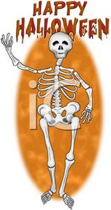 Waving Halloween Skeleton
