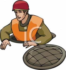Workman Coming Up From the Sewer