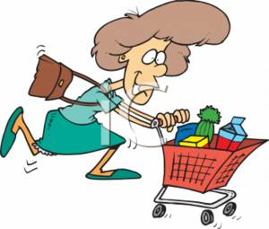 Woman Hurrying with a Shopping Cart