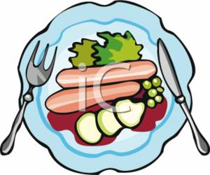 clipart picture of a knife and fork on a plate of food rh clipartguide com free clipart plate of food plate of food clipart