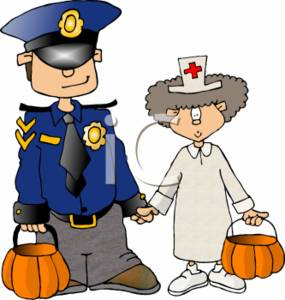 Kids in a Policeman Uniform and a Nurse Uniform