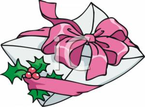 Clipart Picture of a Christmas Card Envelope