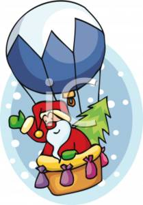 Santa Riding in a Hot Air Balloon