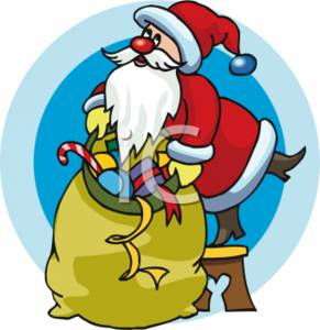 Santa Stuffing His Toy Sack