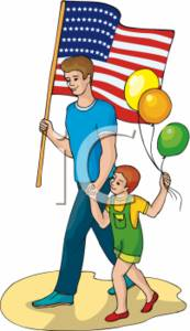 Man and Child With American Flag