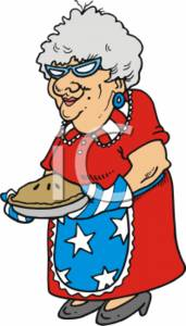 Patriotic Grandma and Her Homemade Pie