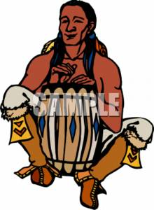 Drum-Beating Native American