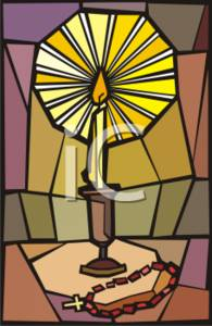 Candle and Rosary Stained Glass
