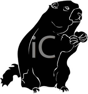 clipart illustration of an erect standing groundhog in silhouette