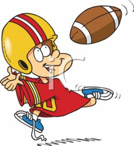Football-Catching Cartoon Boy