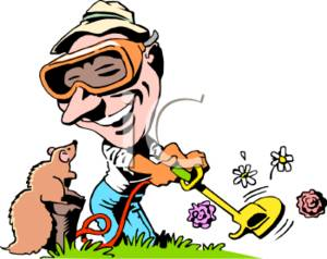 clipart picture of a guy weed eating wearing goggles rh clipartguide com yard work clip art yard work clipart black and white