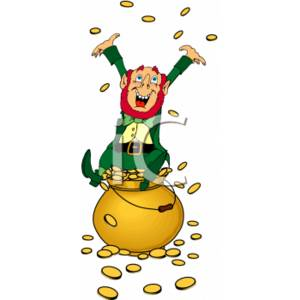 Leprechaun Throwing Coins in Joy