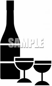 Silhouette of Wine and Glasses