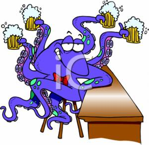 Cartoon Octopus With Four Mugs Of Beer