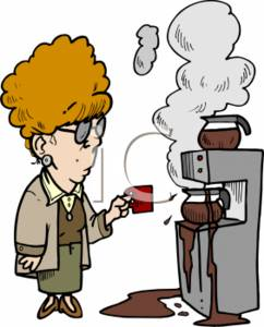 Cartoon Clipart Picture Of A Woman Standing In Front An Overflowing Coffee Machine