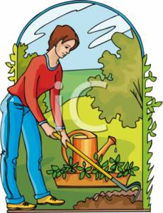 Clipart Picture Of A Woman Hoeing Her Garden